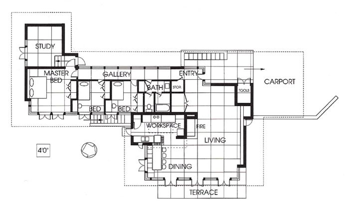 Frank lloyd wright zimmerman house floor plan thefloors co for Frank lloyd wright usonian home plans
