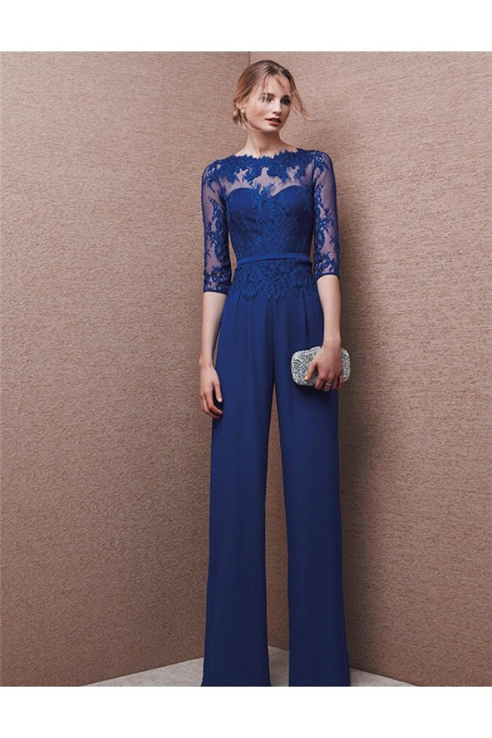 a37e8d8eebc9 Formal Long Royal Blue Chiffon Lace Evening Jumpsuit With Sleeves ...