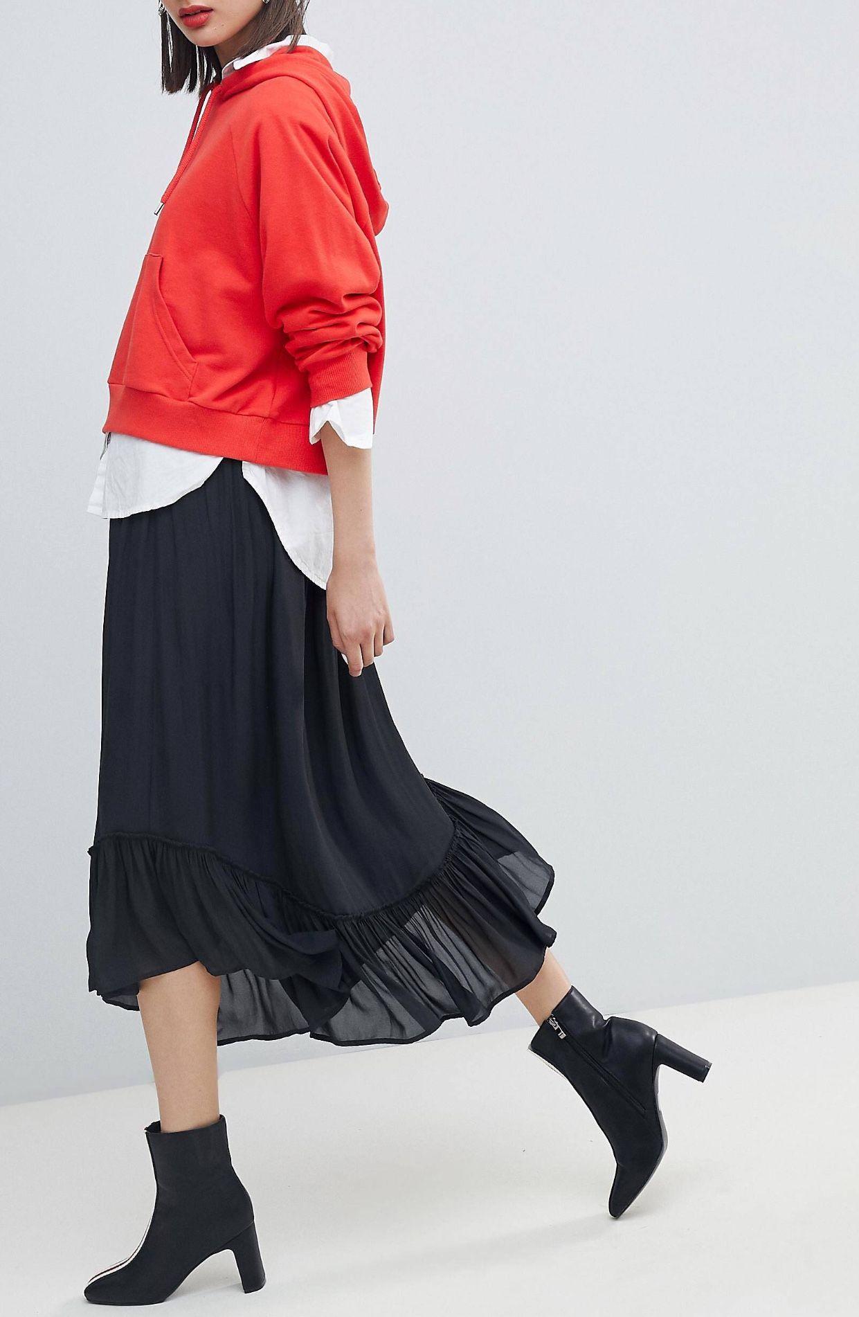 Ladies Wet Look Shiny Pvc Frill Hem Pencil Midi Skirt Black