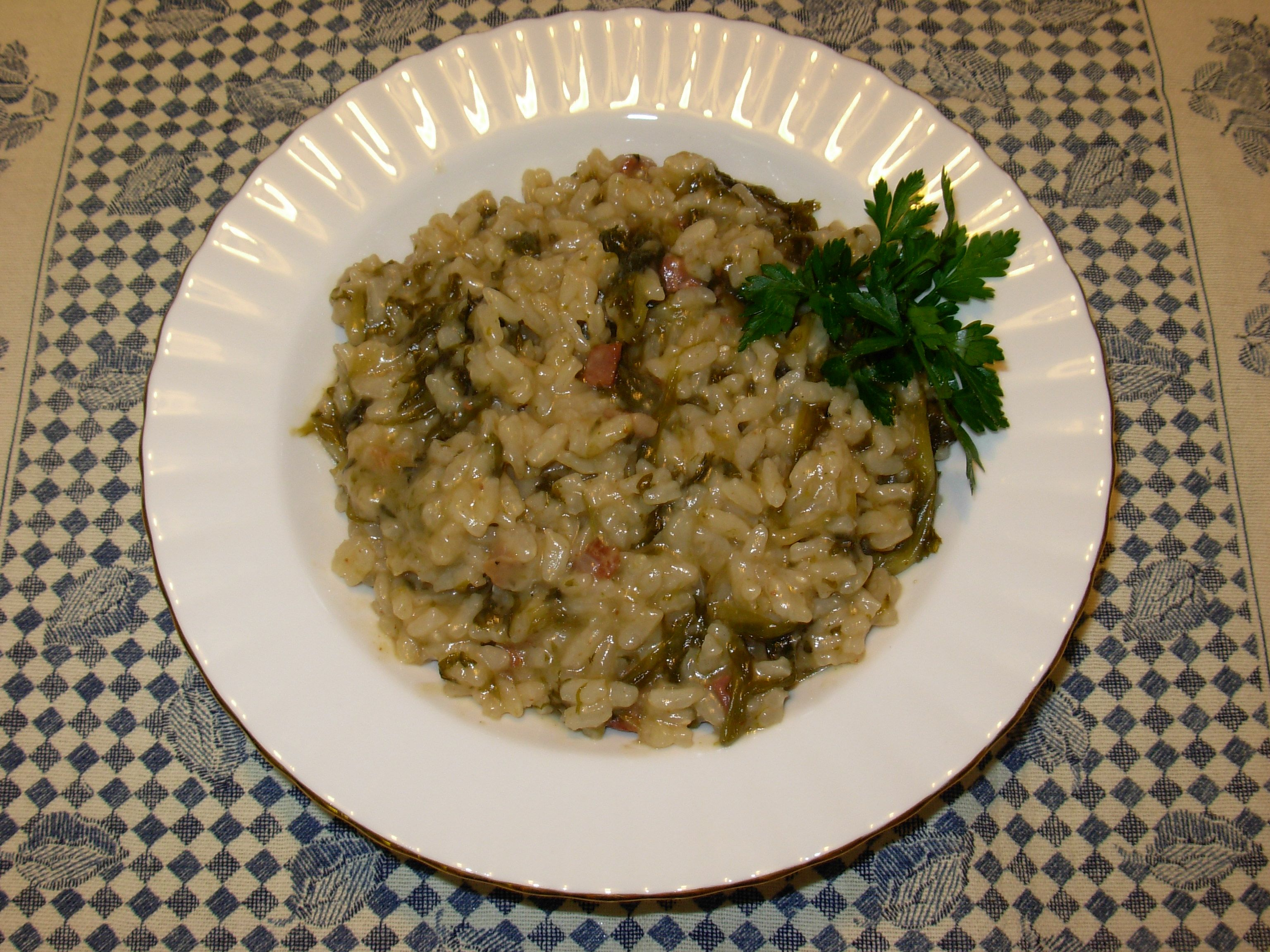 Rice with escarole and pancetta