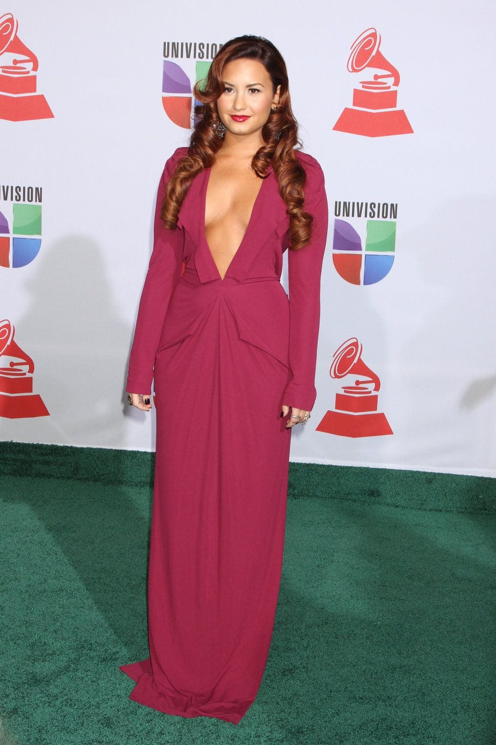 Demi Lovato dresses | Demi Lovato pink dress with plunging ...