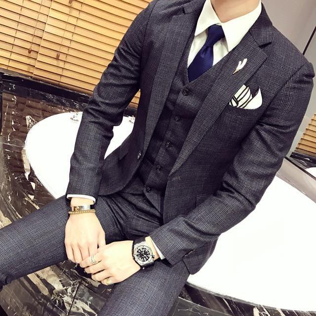c0174b9af1d Men Suits Male Single Button Casual Suits 3 Piece (Jacket+pant+vest) British  Retro Lattice Suit Sets Mens Blazer Dress Wedding Suits
