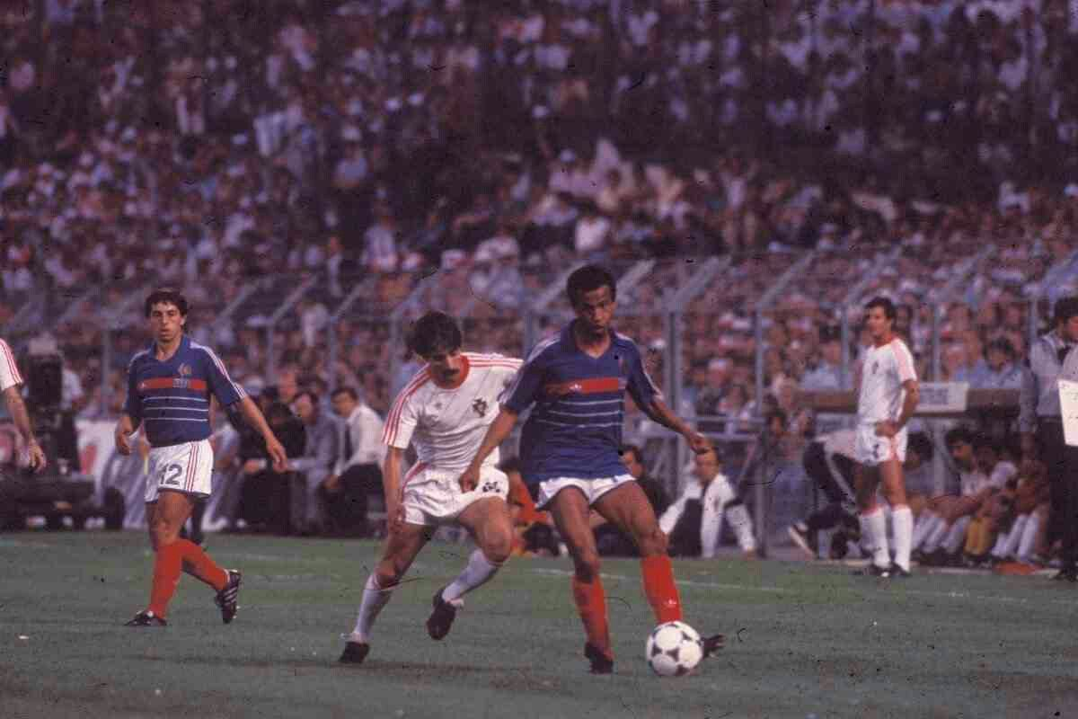 France 3 Portugal 2 in 1984 in Marseille. Jean Tigana is forced to ...