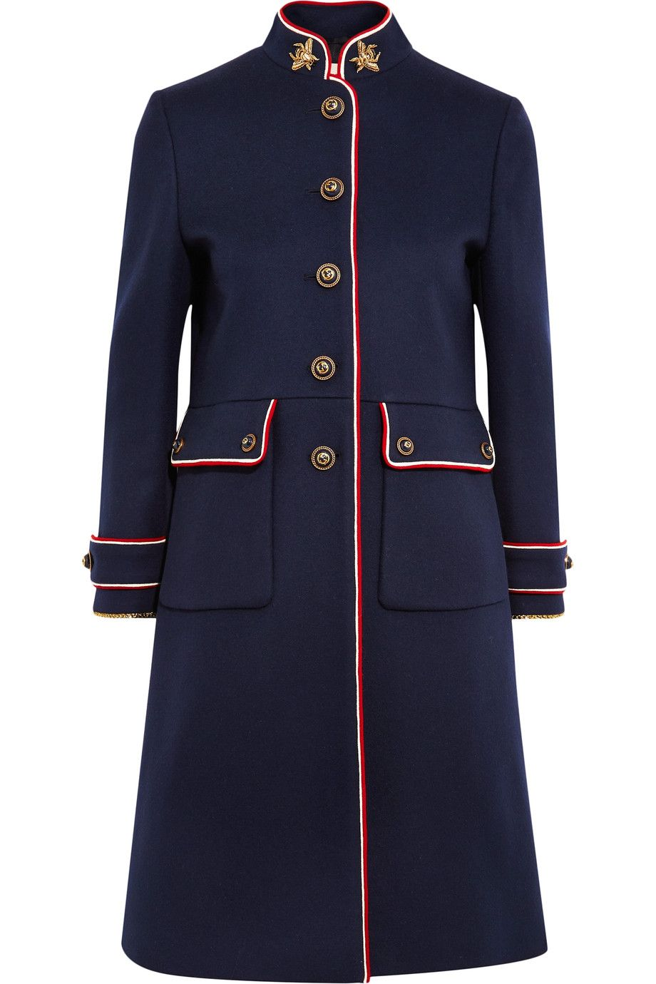 78a2f206a Navy wool-felt, red and white crepe Button fastenings along front 100% wool;  trim: 90% acetate, 10% polyester; lining: 100% viscose Dry clean Made in  Italy