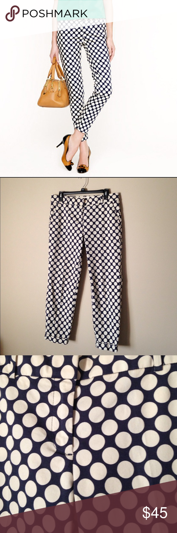 J Crew polka dot cafe capris 98% cotton, 2% spandex. Cream and navy colored, 4 pockets. So cute and in great condition! J. Crew Pants Ankle & Cropped