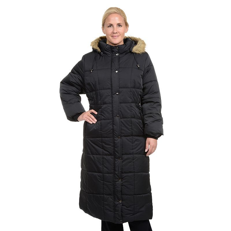 Plus Size Excelled Hooded Long Puffer Coat, Women's, Size: 1XL, Black