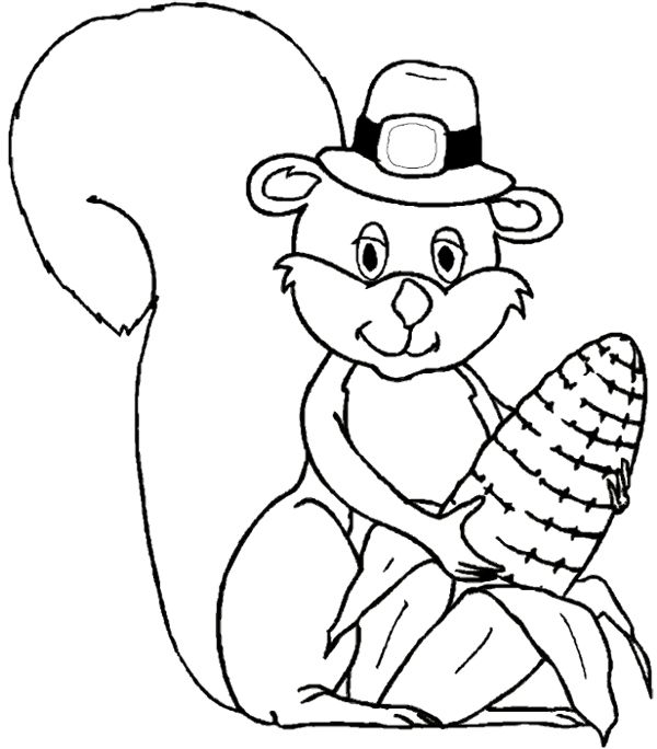 Squirrel Happy Thanksgiving Coloring Day Animals