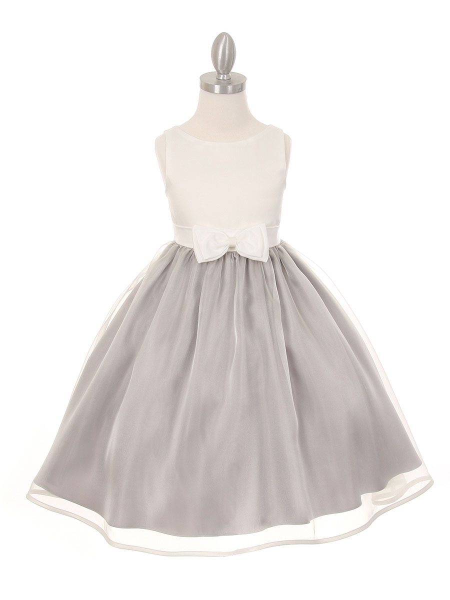 Elegant satin organza contrast dress with bow accent all about