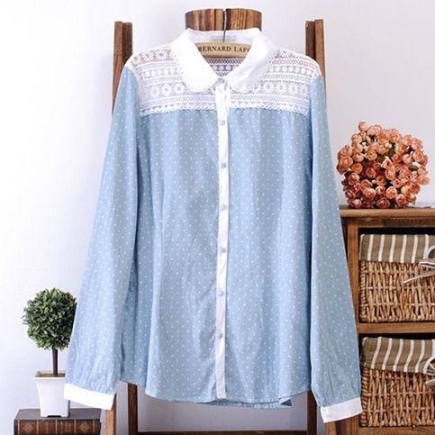 """Style: Sweet   Material: Cotton   Color: Light Blue   Size: S / M / L / XL   S: Bust:88CM (34.65"""") Shoulder:35CM(13.78"""") Sleeve Length:61CM(24.02"""") Length:66CM(25.98"""")  M: Bust:92CM (36.22"""") Shoulder:36CM(14.17"""") Sleeve Length:61CM(24.02"""") Length:68CM(26.77"""")  L: Bust:96CM (37.80"""") S..."""