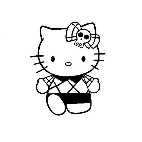 6 Inch Hello Kitty With Skull Bow Goth Decal Sticker For Cars Computers Crafting Or Any Flat Hello Kitty Colouring Pages Kitty Coloring Hello Kitty Coloring