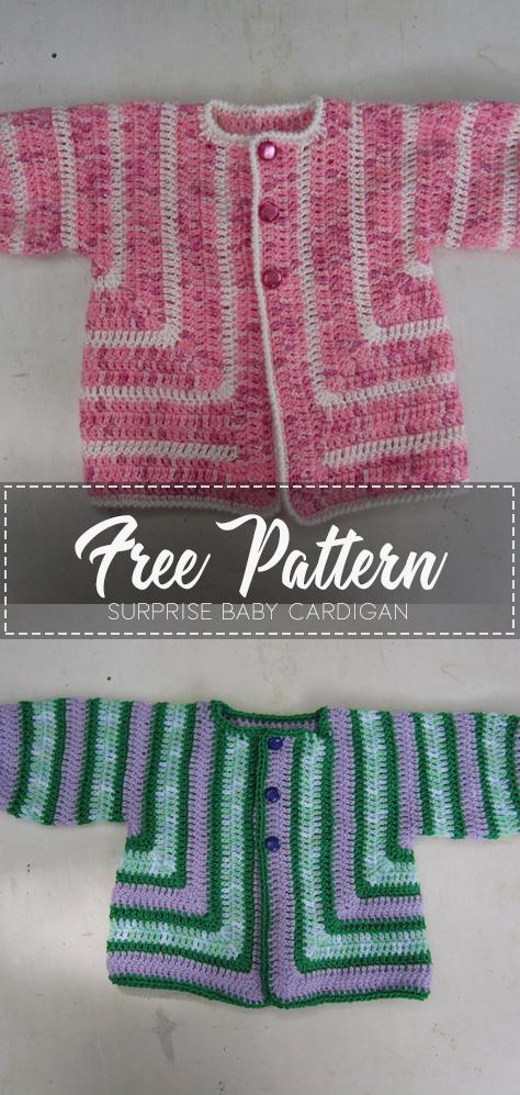 Surprise Baby Cardigan – Free Pattern – Free Crochet #crochetbabycardigan