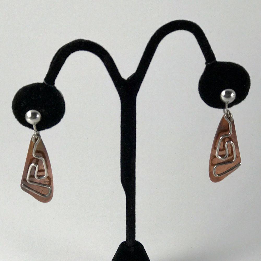 Copper and Silver Modernist Kinetic Screw Back Earrings 1950s #MidCenturyModern