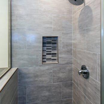 bathroom remodel with grey shower tile | shower tile