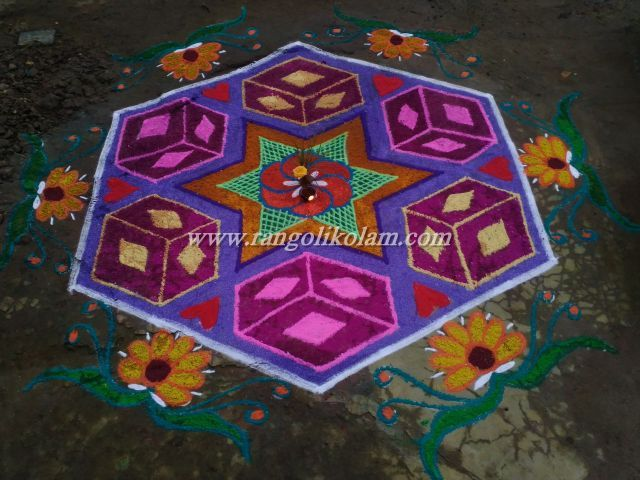 Colourful Dotted Kolam Pulli Stright Line I Have Given The Step By Steps In Below Pictures You Can Try This On Margazhi Month Or Any