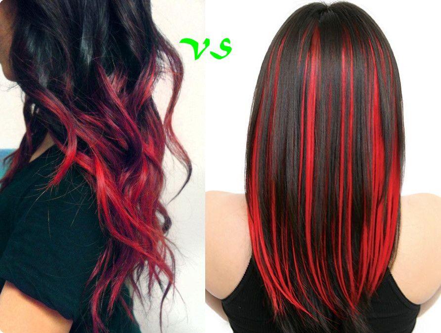 Schwarze haare rote strähnen, Farbige haare, Braune haare