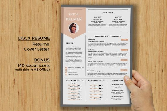 1 page modern 2 in 1 Word resume templates for MS by BimbimDesigns