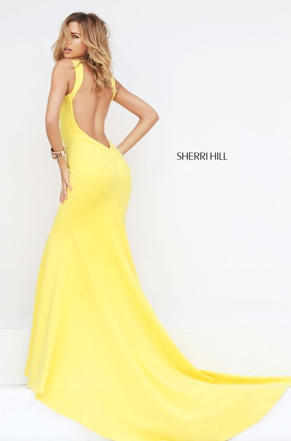 Yellow, low back prom dress. Low back prom dress. Open back prom dress.