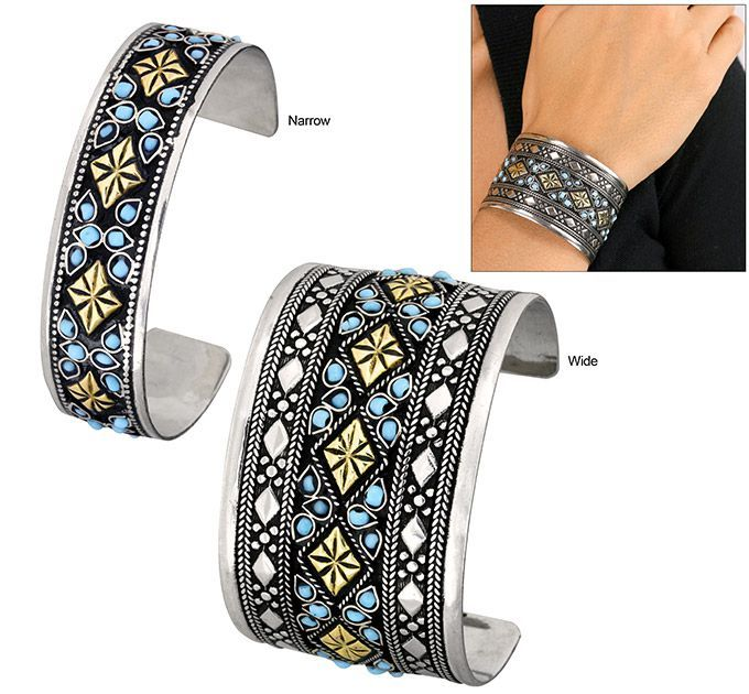 Afghan Celebration Turquoise Diamond Cuff Bracelet - Every Purchase Fights Famine in the Horn of Africa & Combats Hunger in the U.S.