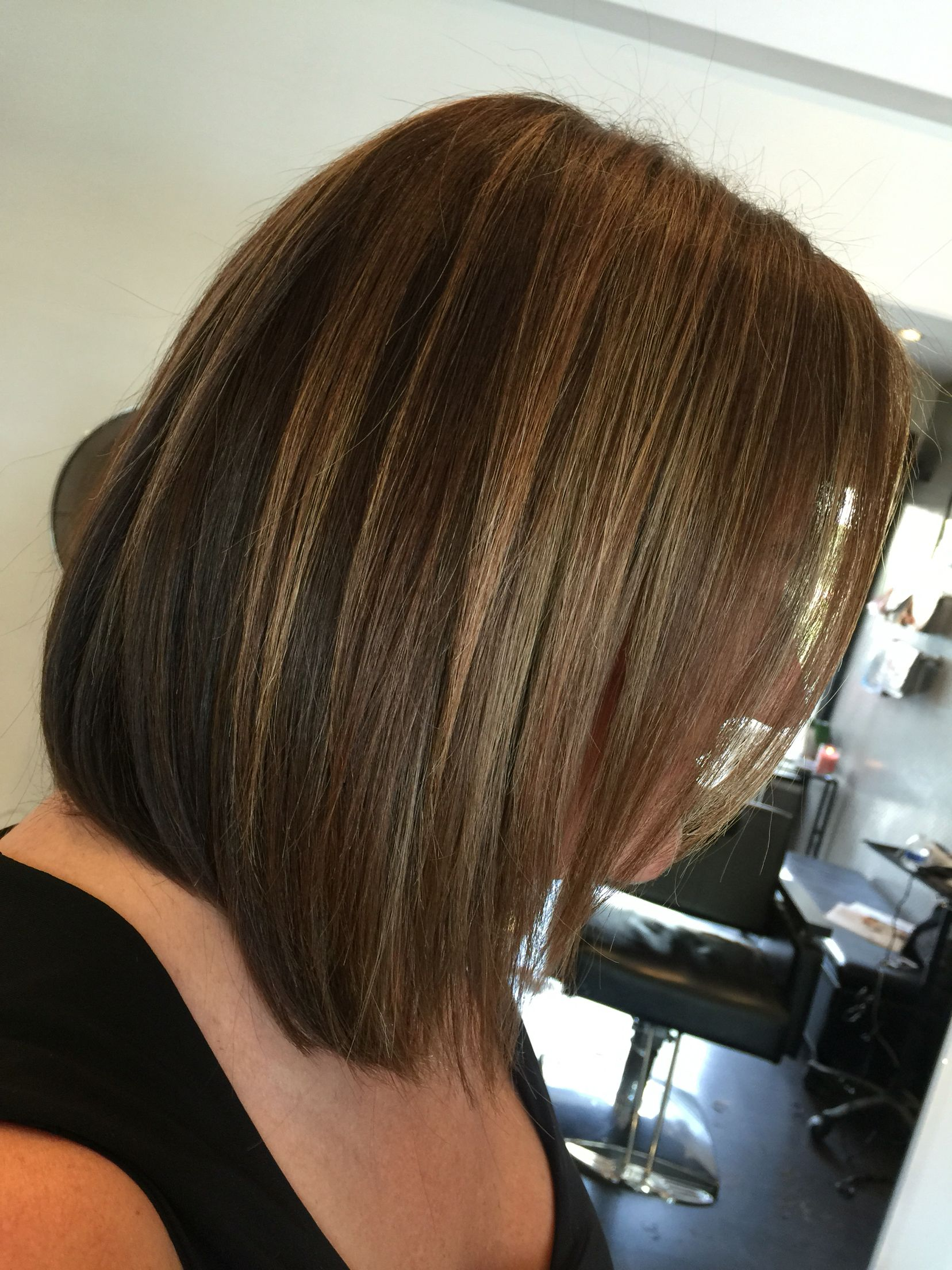 Long Layered Bob Sandy Caramel Highlights On Natural
