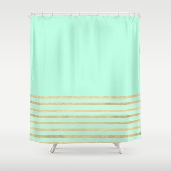 Mint And Gold Stripes Shower Curtain By Xiari Green Curtains