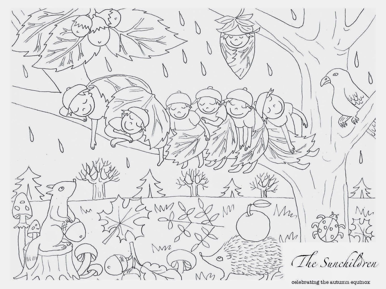 Little Acorn Learning Autumn Equinox Coloring Page And Planning Sheet Coloring Pages Happy Magic Colouring Pages