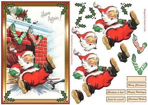 Santa Is Here Christmas Decoupage Topper #calendrierdel#39;aventcouture
