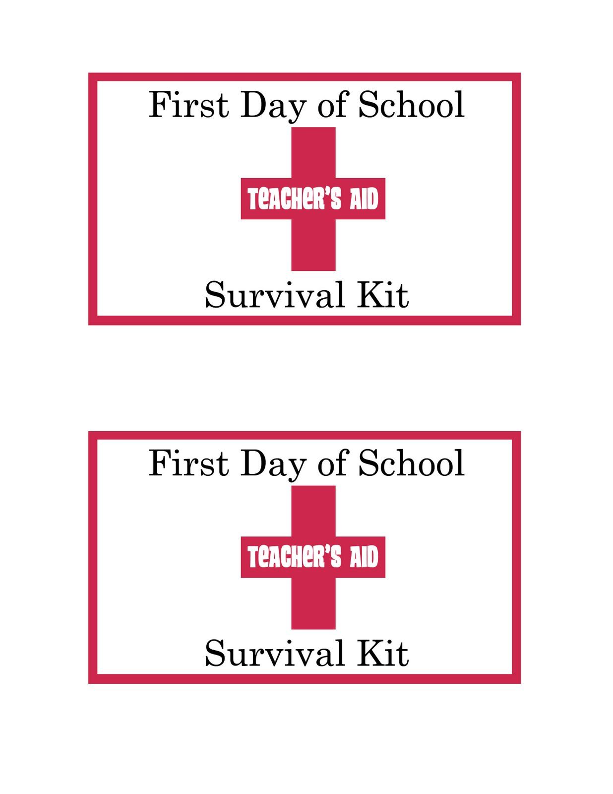 picture regarding Teacher Survival Kit Printable known as 1st Working day Survival Package-printable Appreciation Recommendations