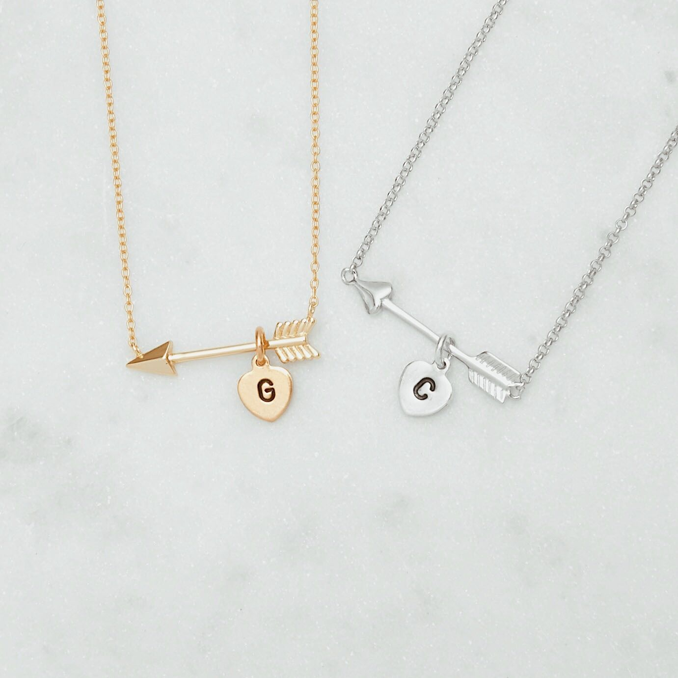 Personalized initial heart charm gold arrow necklace monogram and