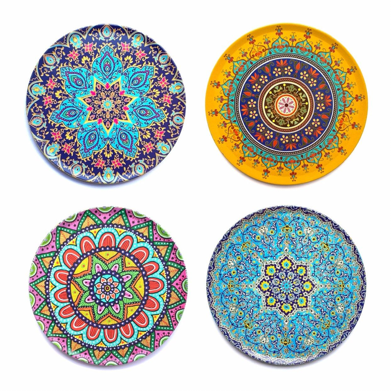 Set Of 4 Premium Mandala Coasters Decorative Coasters For Glass Cups Vases Candles On Dining Table Tin Cork Coasters Christmas Gift With Images Cork Coasters Coasters Christmas Gifts