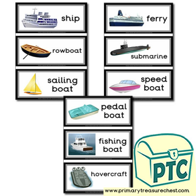 Sea Transport Themed Flashcards Primary Treasure Chest