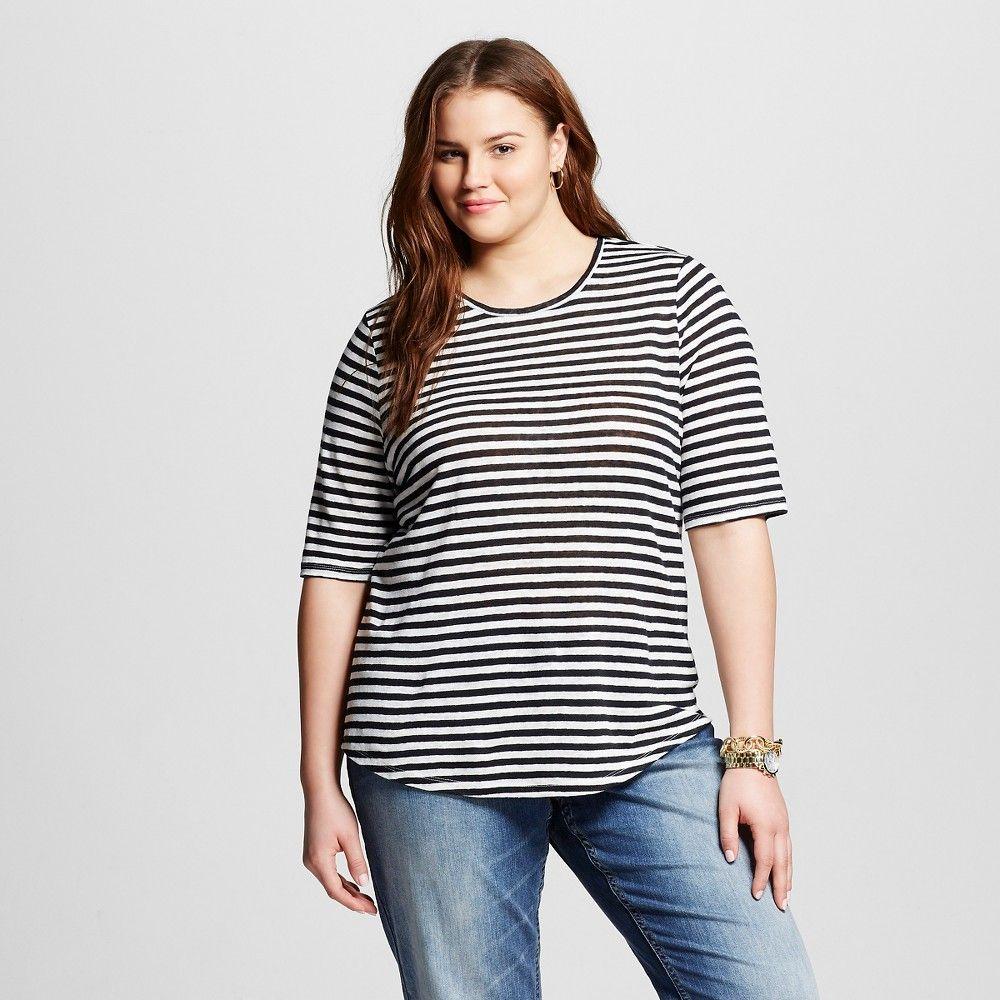 0a84afaac5b Women s Plus Size Linen T-Shirt Black and White Stripe 4x - Who What Wear