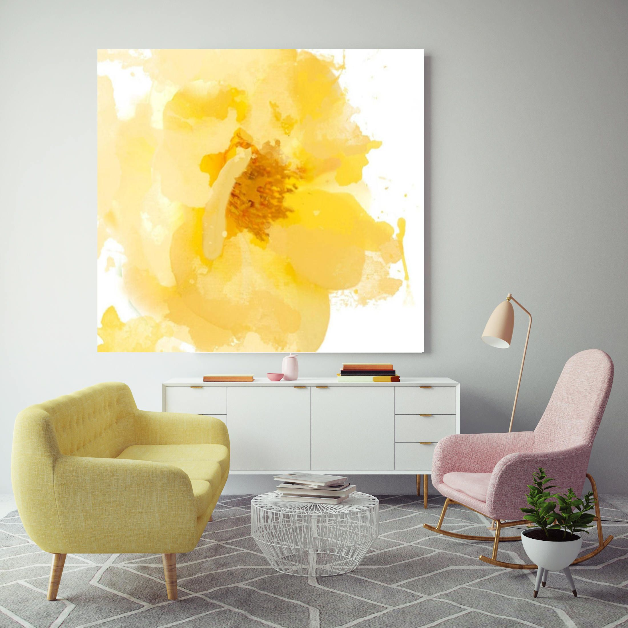 Beautiful And Bright Floral Painting Yellow White Floral Canvas Abstract Colorful Contemporary Canvas Art Print Up To 72 By Irena Orlov In 2020 Contemporary Art Canvas Pink Abstract Art Abstract Floral Paintings