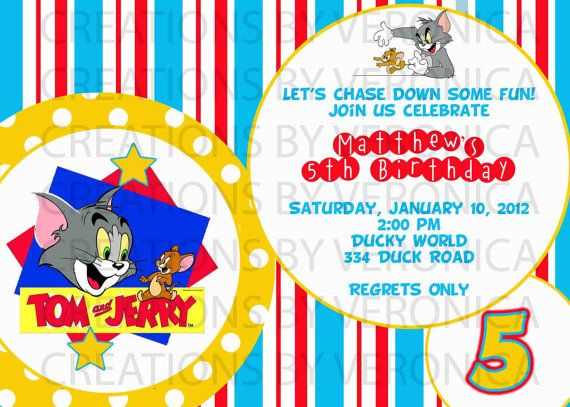 Birthday Tom And Jerry Invitation Digital By Creationsbyveronica