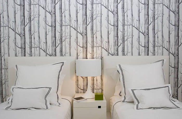 papel pintado arboles en pared dormitorio decoracion Pinterest