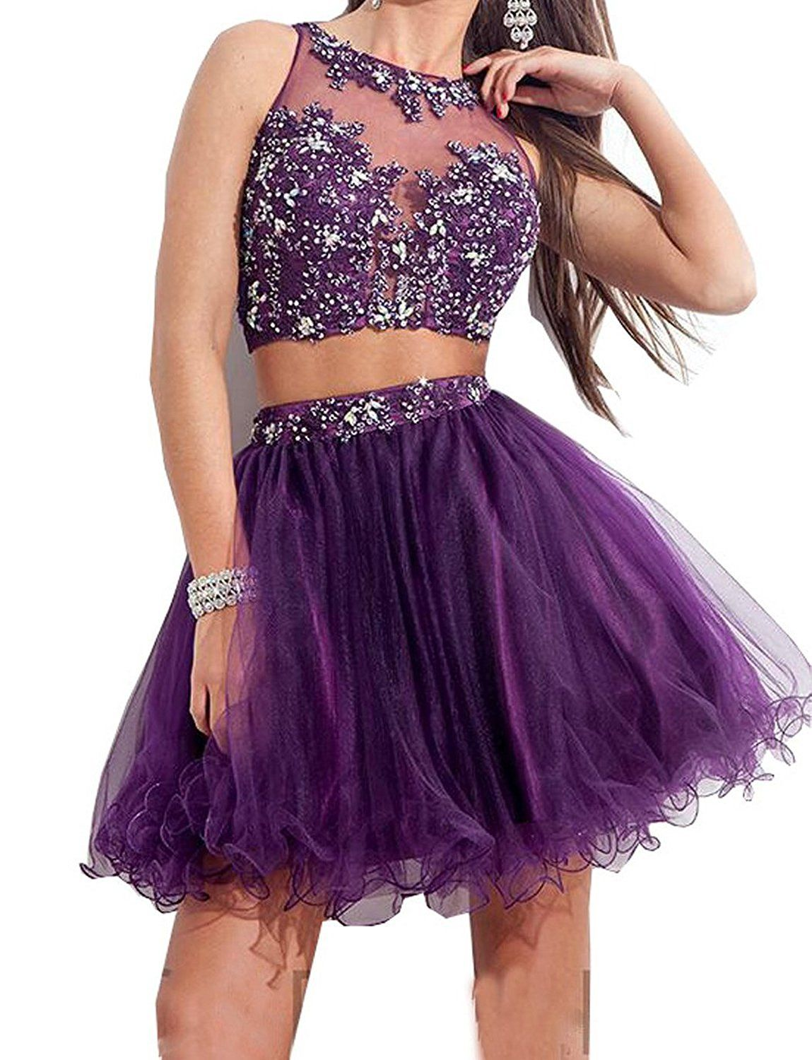 Lisa Short Bodice Tulle Prom Party Gown Two Piece Homecoming Dresses ...