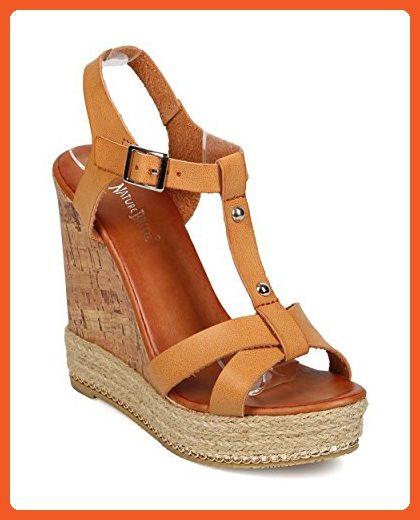 b040e6be8f62 Nature Breeze EG30 Women Leatherette Peep Toe T-Strap Cork Espadrille Wedge  - Camel (Size  10) - Sandals for women ( Amazon Partner-Link)