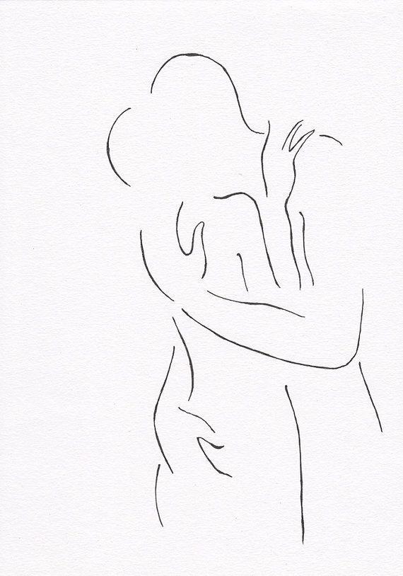 Minimalist kiss drawing. Original line art illustration. Black and white art.
