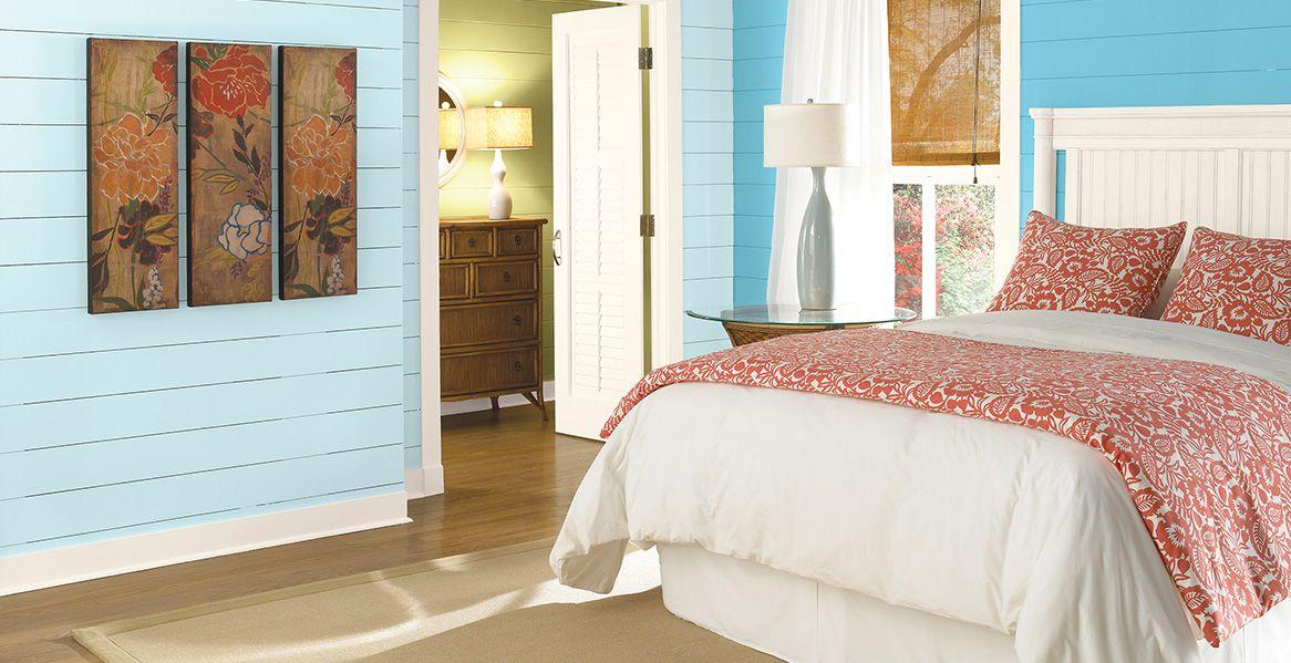 BEHR oceanic bedroom snowmelt (light blue) + reviving