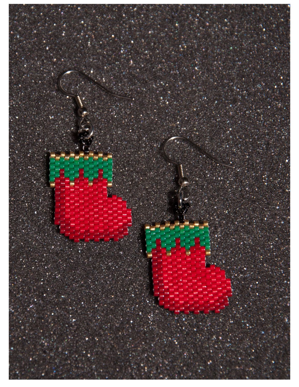Christmas Stocking Earrings by HandMadeBeadedCrafts on Etsy