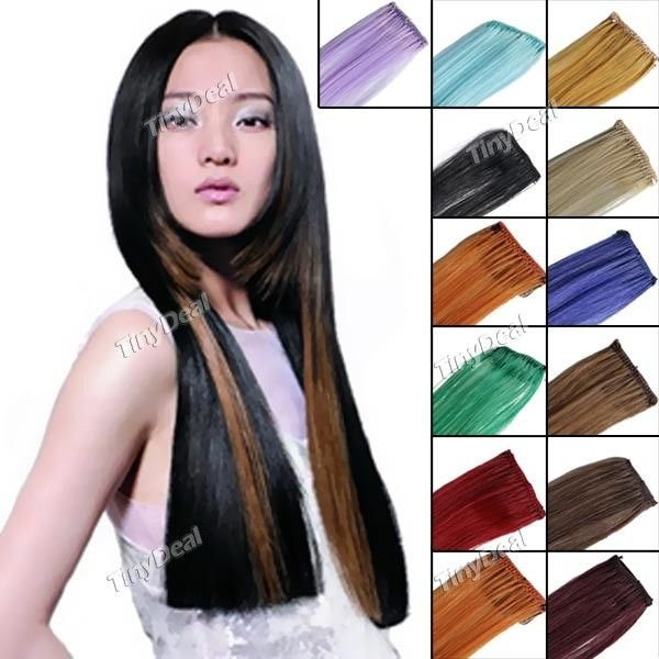 Long Straight Clips In On Hair Extensions Wig Hairpiece Pinterest