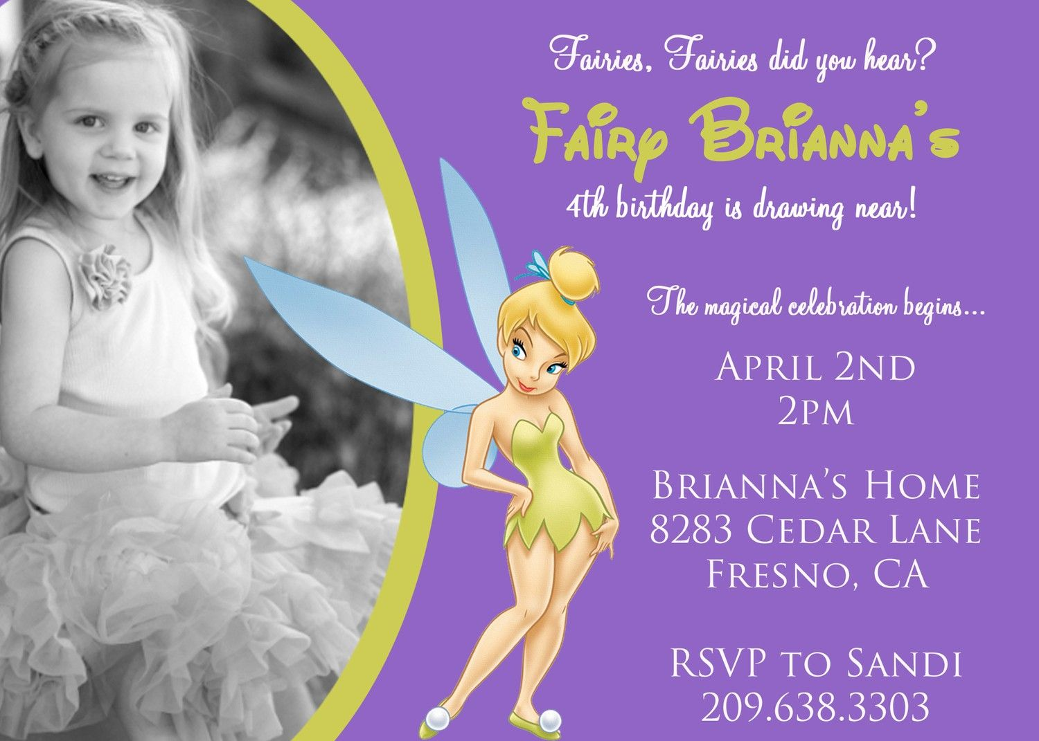 Tinkerbell Birthday Invitation with Photo | Kids | Pinterest ...