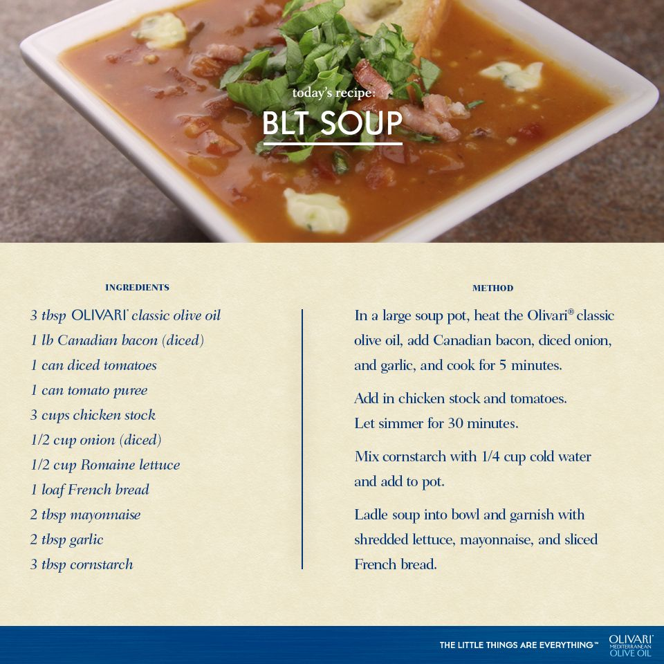 BLT Soup. #Recipe #OliveOil