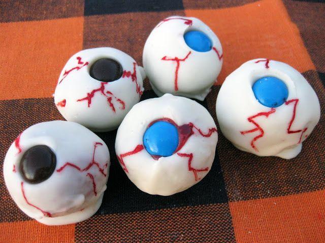 This gross halloween cake ball recipe yields a bunch of edible
