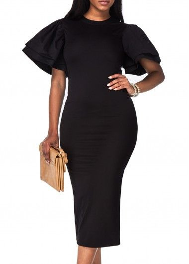Round Neck Petal Sleeve Black Pencil Dress Fashion In