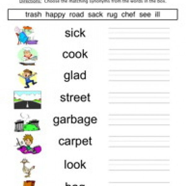 Synonyms Worksheet 4 | Worksheets and Kindergarten
