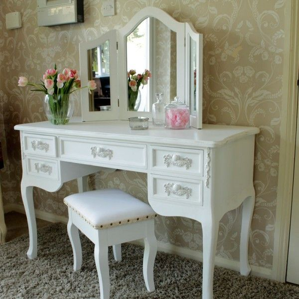 Pays Blanc Antique White Dressing Table With Triple Mirror And Stool Dressing Table White Dressing Tables Dressing Table Writing Desk Vintage Dressing Tables
