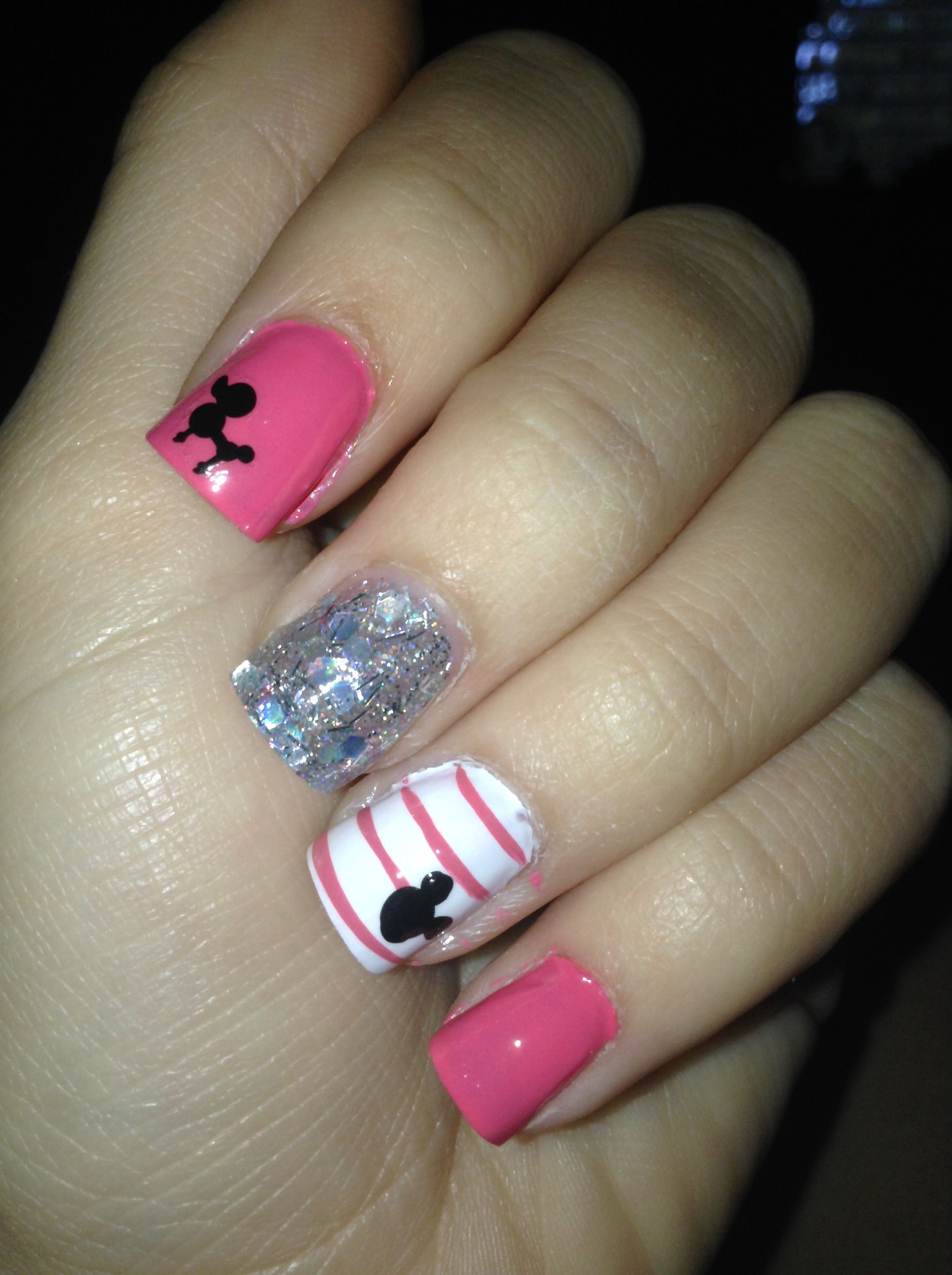 Pink Mickey Mouse cute nails