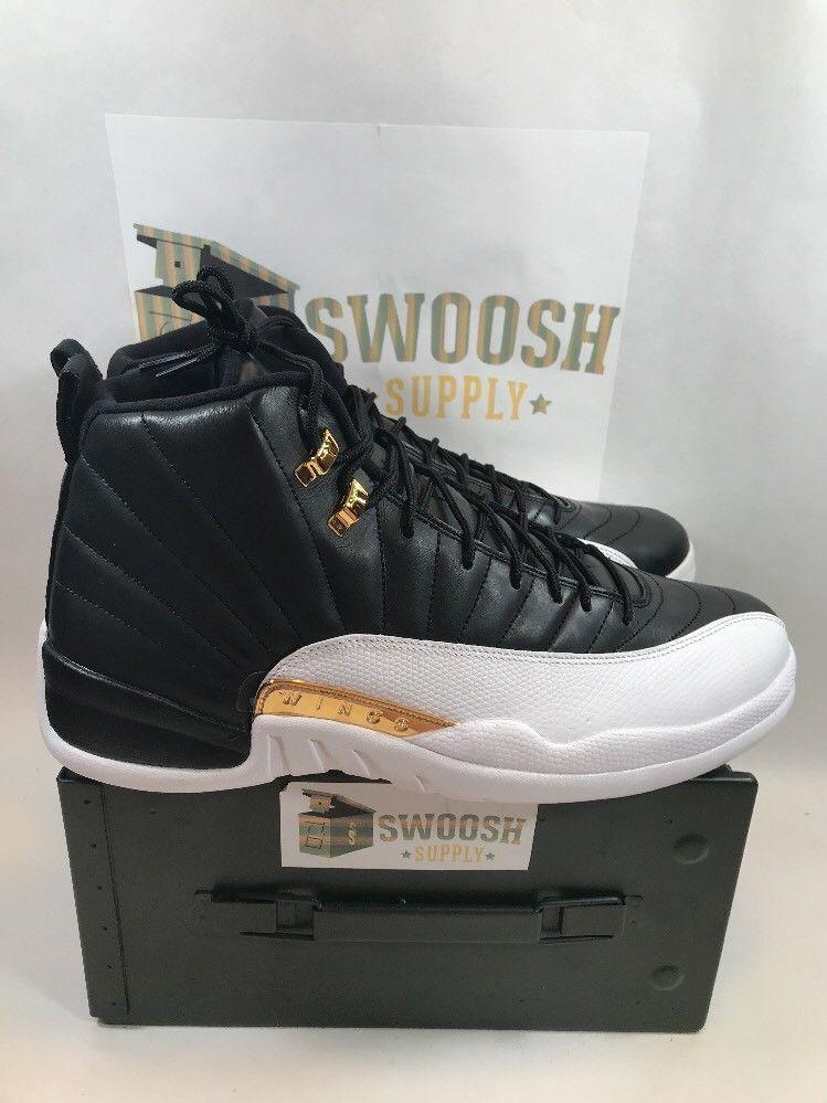46ce80f8276006 Nike Air jordan 12 XII Retro WINGS SZ 14 Black White Gold Playoffs 848692-033   Nike  BasketballShoes