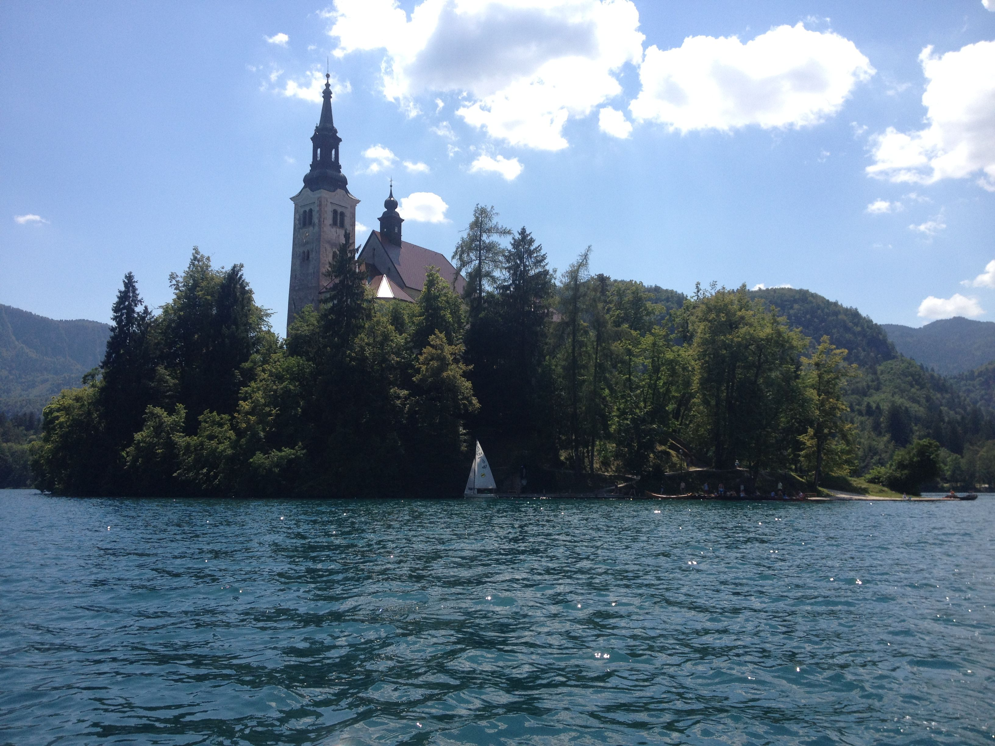 Island in the middle of the Lake Bled, Slovenia