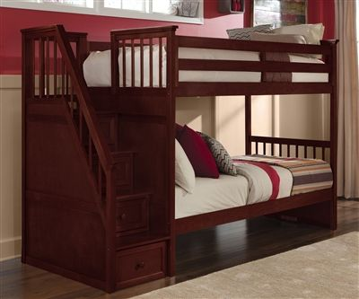 Schoolhouse Cherry Staircase Bunk Bed Solid Wood No Veneers No